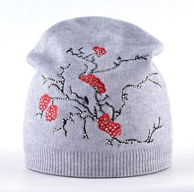 Femal Beanies Hat Women Autumn And Winter Plum Flower Embroidery Knitted  wool Cap Ladies Knitting Skullies 5e511b2d2ba0
