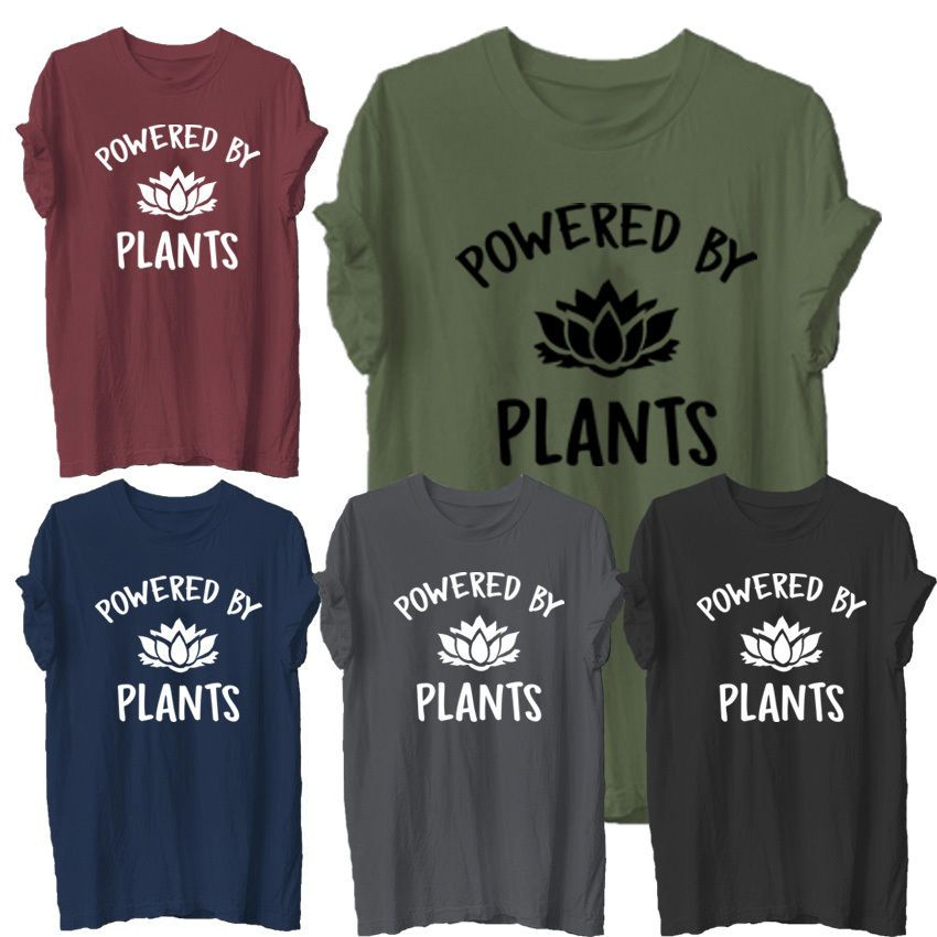 a45f0fd25f80 Tumblr T-Shirt Hipster Joke Tee Unisex Vegetarian Vegan POWERED BY PLANTS  in Clothes