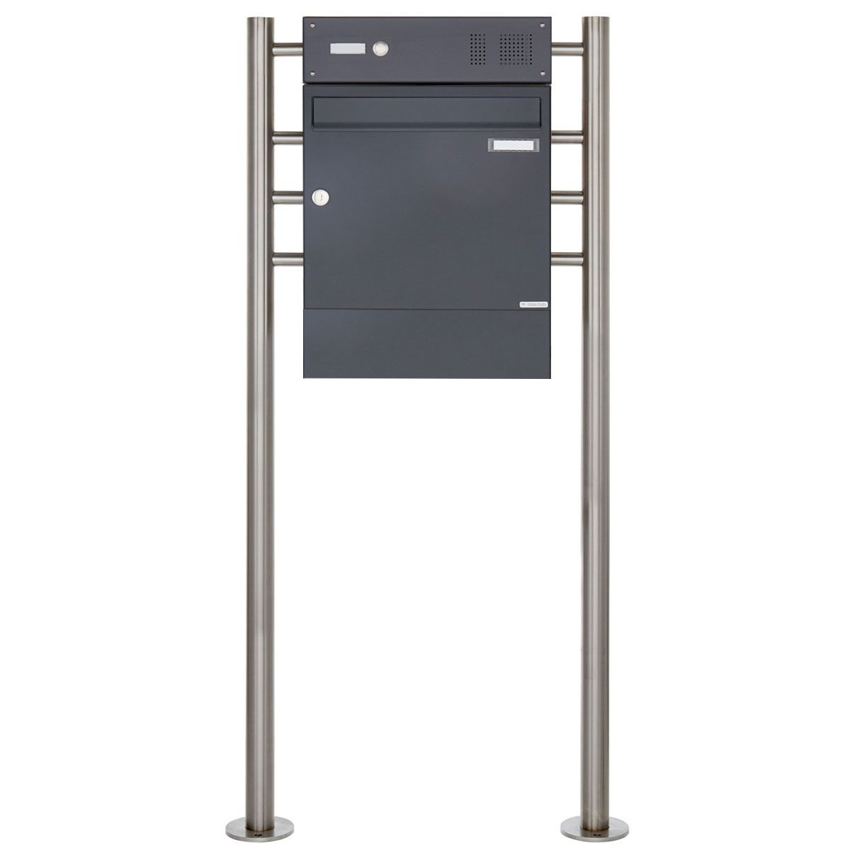 Standbriefkasten Design Basic 381 St R Mit Klingelkasten Zeitungsfach Ral 7016 Anthrazitgrau In 2020 Briefkasten Freistehend Anthrazit Grau Standbriefkasten