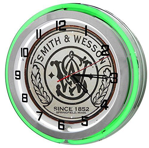 Smith Wesson 18 Green Double Neon Garage Clock from Redeye ...