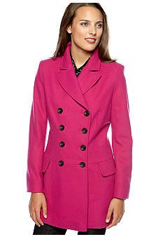 Nicole Miller Double Breasted Drop Waist Peacoat