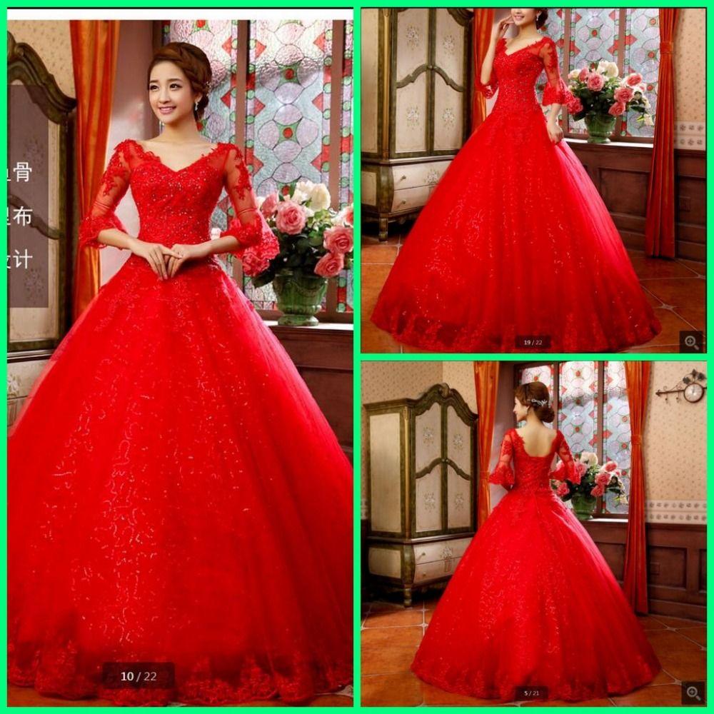 Super Vestidos De Novia ball gown red wedding dress lace appliques  TJ72