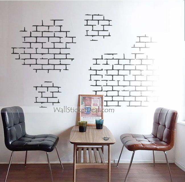 White Brick Wall Stickers Urban Wall Decals Pinterest White - Vinyl wall decals brick