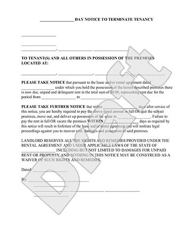 Eviction Notice Form 30 Day Notice to Vacate Letter to Tenant – Tenant Eviction Notice Template
