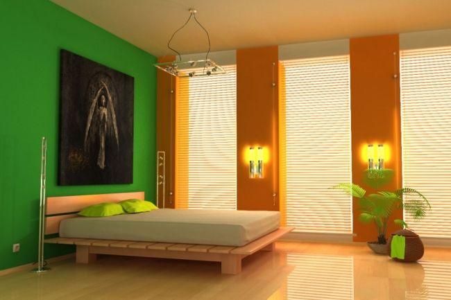 Wohnideen Schlafzimmer Grün wohnideen schlafzimmer design modern grün gelb holzbett wozi