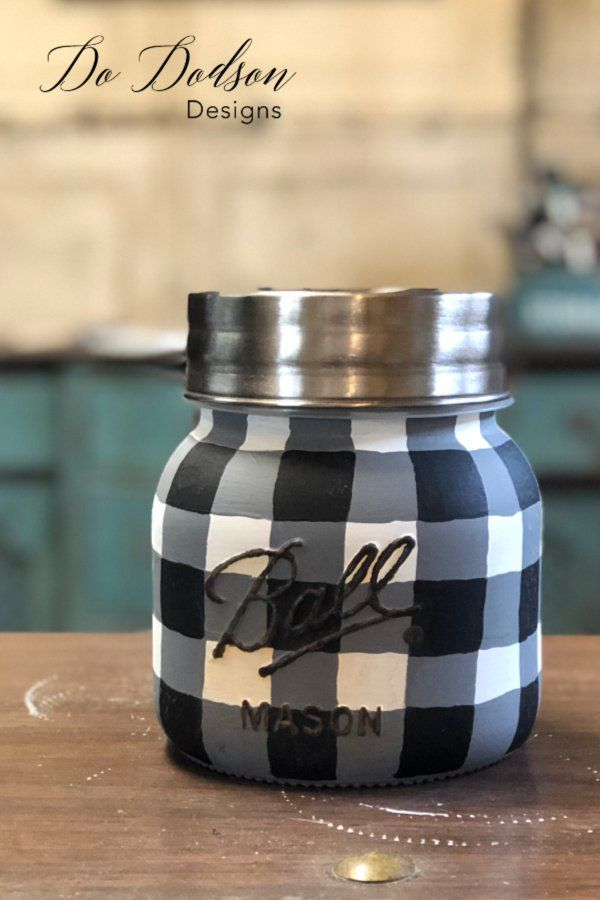 Easy How To Paint Buffalo Plaid Mason Jar DIY