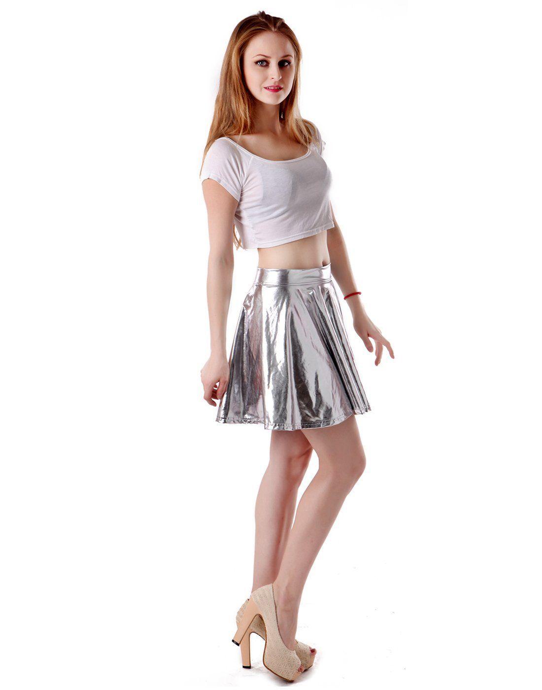 New Womens Ladies Elastic Waist Band Pvc Wet Look Flared Shiny Mini Skater Skirt