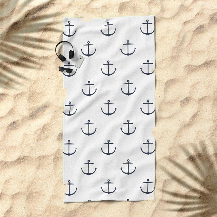Beach Towel Yacht Style Anchor Navy Blue White By Ddok Yacht