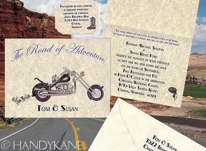 Motorcycle Harley Ring Favors BIKER Wedding Invitations