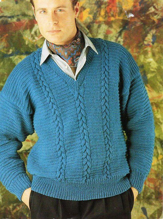 Mens Sweater Knitting Pattern Pdf Mens Cable V Neck Jumper 36 48 Dk