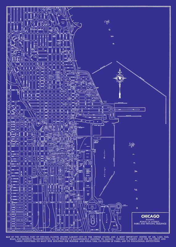 1944 chicago street map vintage blueprint print poster master 1927 chicago street map vintage blueprint 20x30 by themapshop 2995 malvernweather Gallery