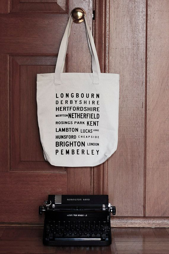perfect for someone in particular. Pride and Prejudice Typography Tote Bag  Jane Austen by Brookish, $18.00