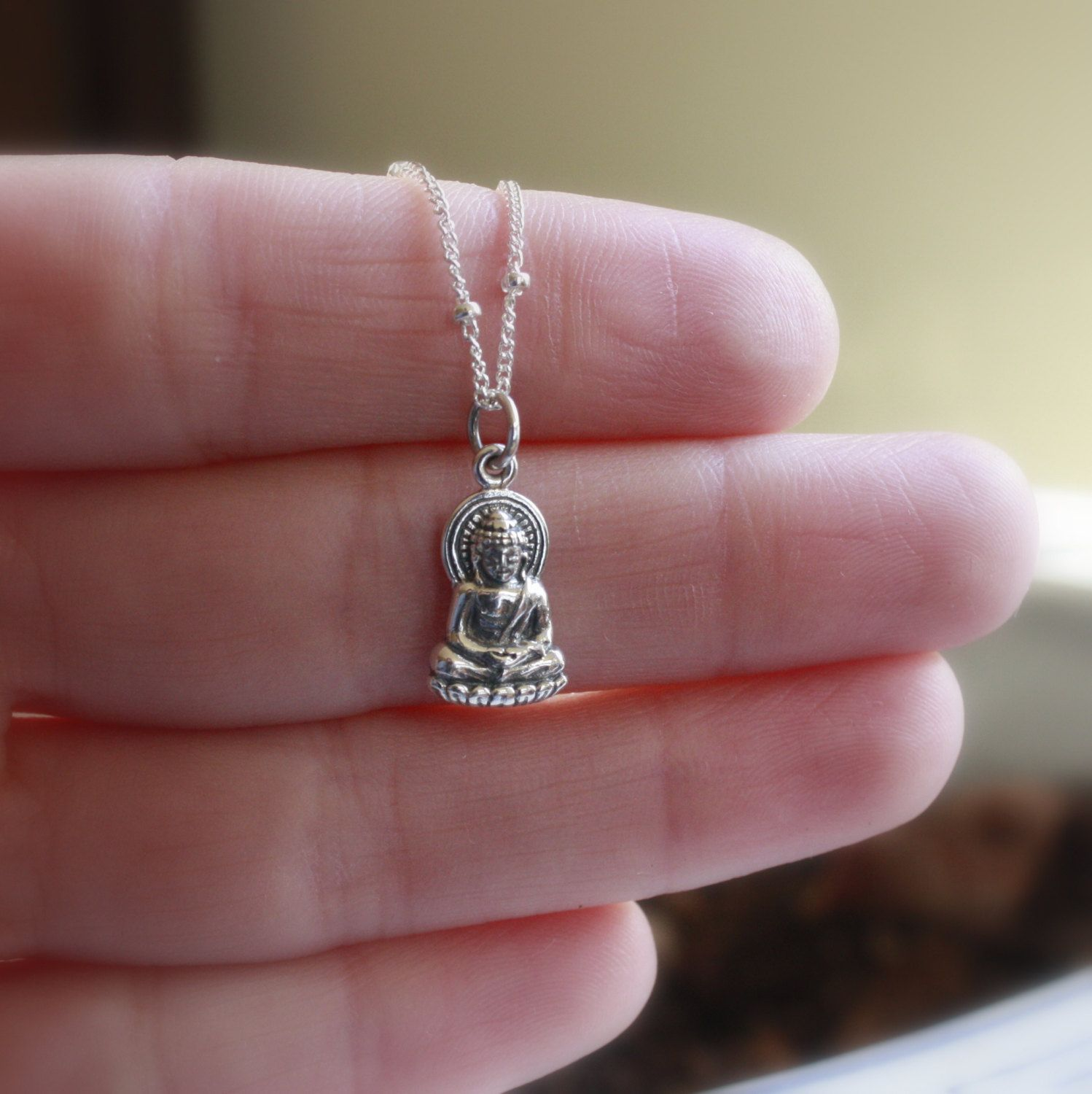 Silver buddha necklace sterling silver buddha pendant yoga silver buddha necklace sterling silver buddha pendant yoga jewelry buddhism spirituality aloadofball Images