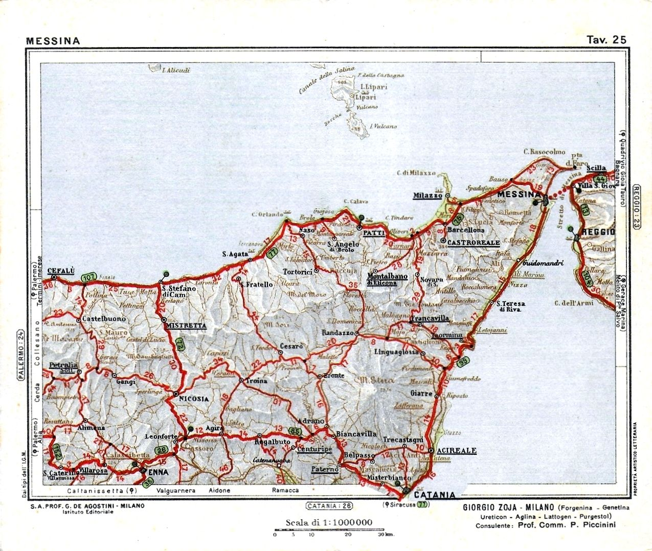 Cartina Geografica Napoli E Dintorni.Cartina Geografica Della Provincia Di Messina Nel 1932 Messina Mappe Immagini