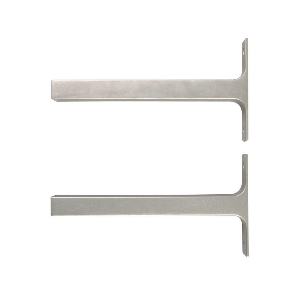 Everbilt 8 1 In X 1 In Platinum Bauhaus Deco Shelf Brackets Set Of 2 Hd 0078 8sn Shelf Brackets Bauhaus Decorative Shelf Brackets