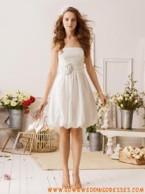 Short Empire Pleated Taffeta with Handmade Corsage Outdoor Wedding Dresses Online