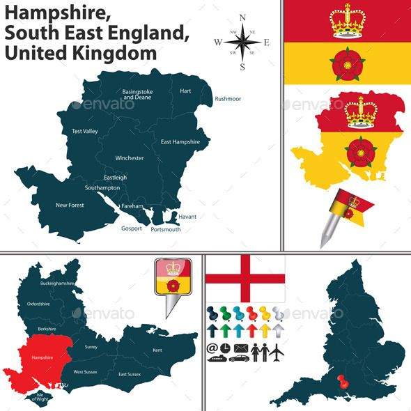 Map Of Uk Hampshire.Hampshire South East England Uk Travel Vectors Graphics In 2019