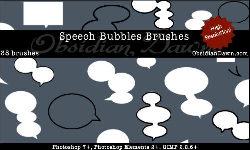 Obsidian Dawn Photoshop & GIMP Brushes - Speech Bubbles (various ...