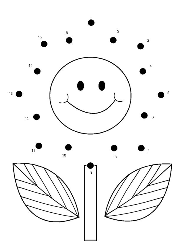Online Printable Kids Games Flower Dot To Dot – Connect the Dots Worksheets for Kindergarten