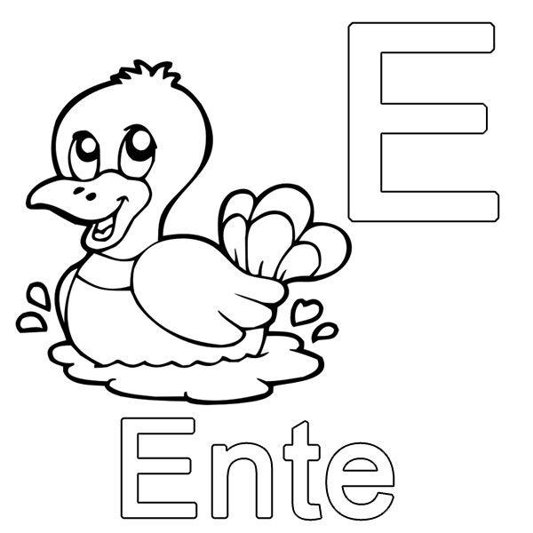 Ausmalbild Buchstaben lernen: Kostenlose Malvorlage: E wie Ente ...