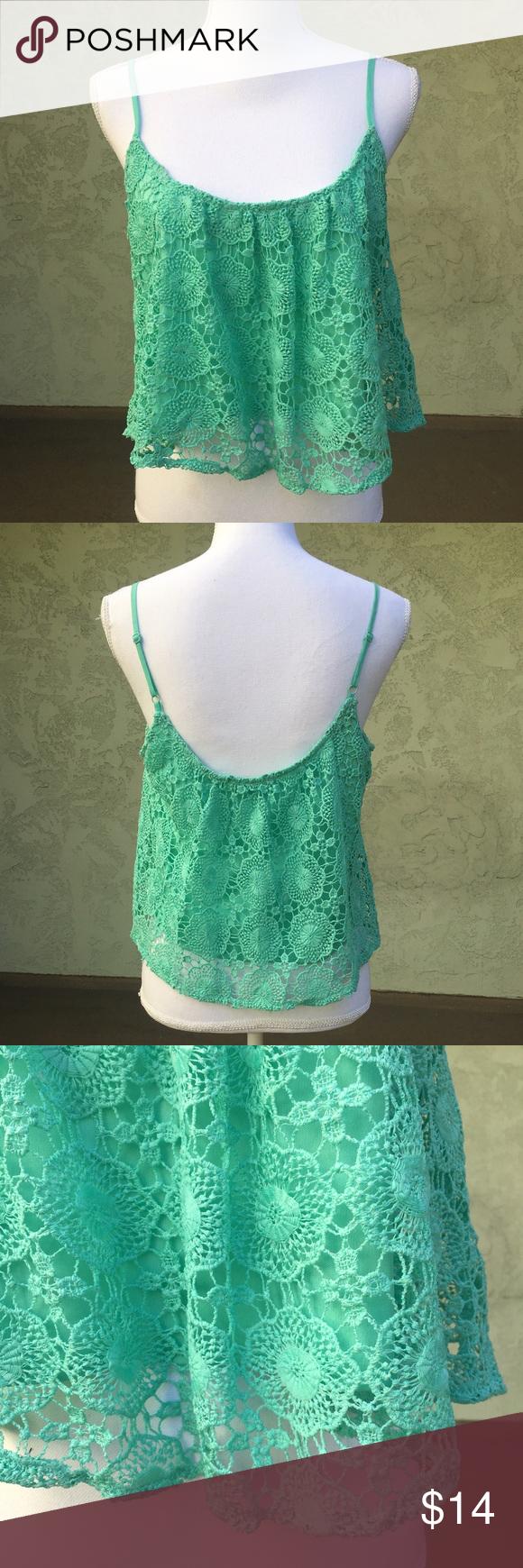 LA Hearts Women's Crop Tank Lace Green Size Large Pastel green Lace Top. Size Large. Flowy. Adjustable straps LA Hearts Tops Crop Tops