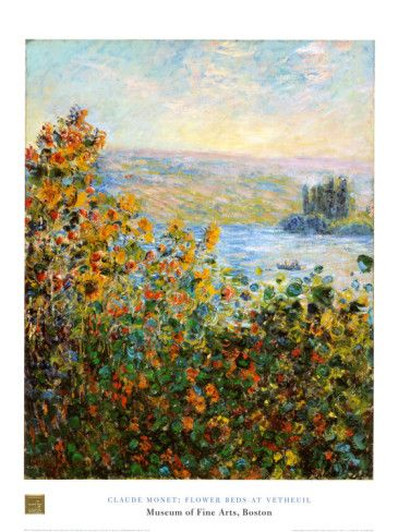 Flower Beds At Vetheuil by Claude Monet