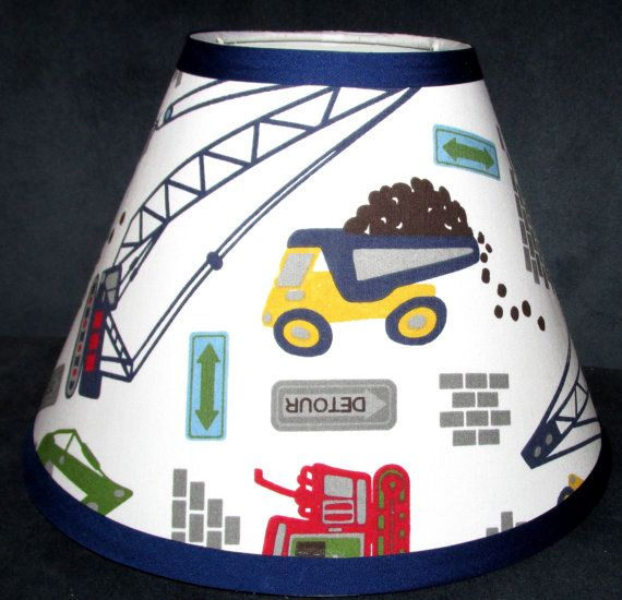 Lampshade lamp shade busy little builder construction trucks with lampshade lamp shade busy little builder construction trucks with pottery barn kids fabric any color trim 4 sizes aloadofball Image collections