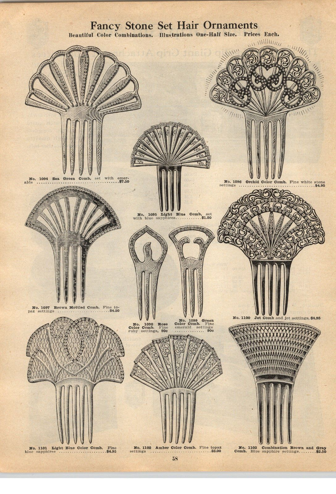 1924 Paper Ad Fancy Stone Jeweled Hair Ornaments Combs Jet Comb Hair Ornaments Antique Hair Combs Fancy Stones