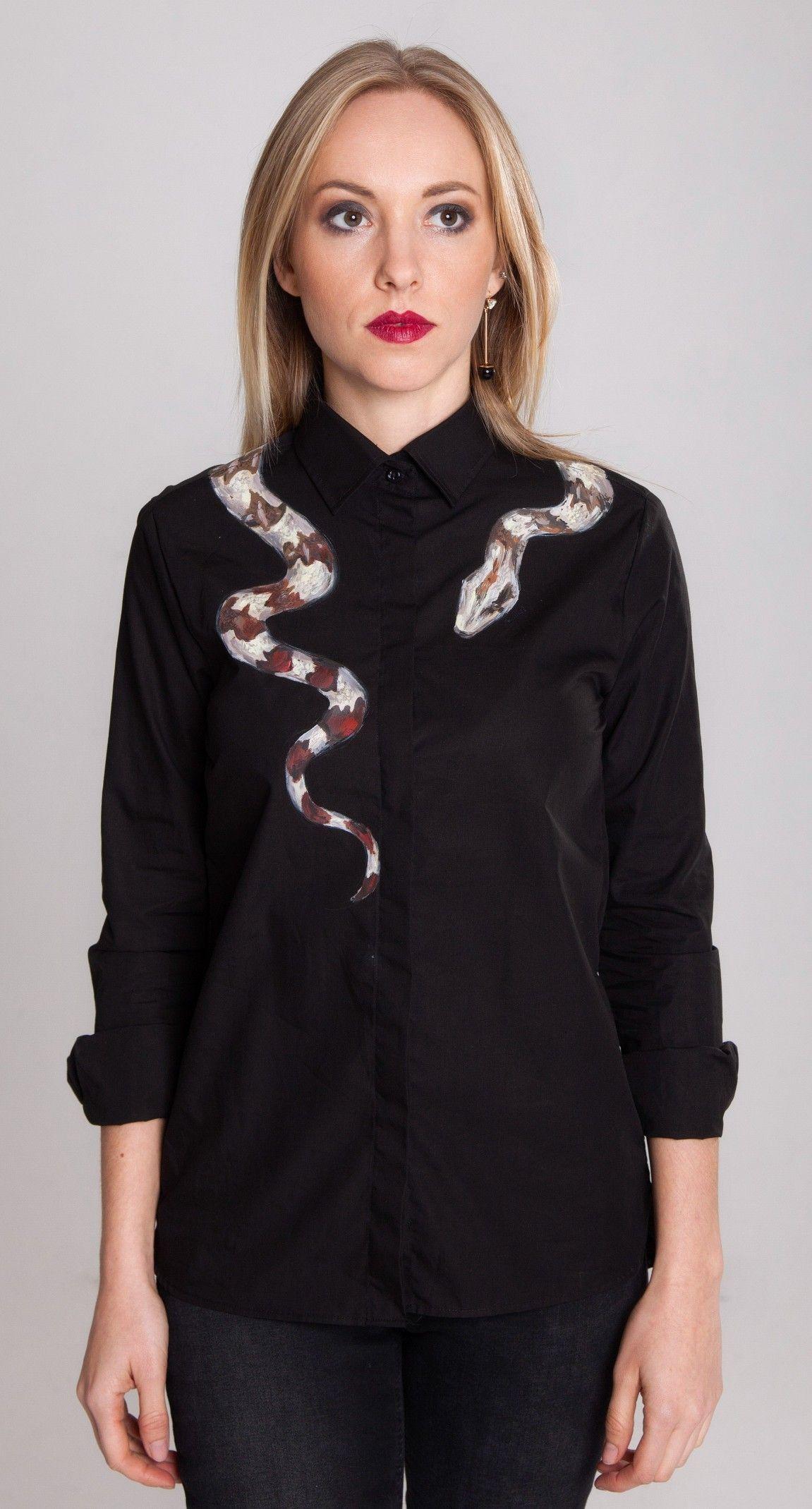 43d6fc2f9 Snake shirt Black button up shirt Black blouse Snake blouse Designer ...