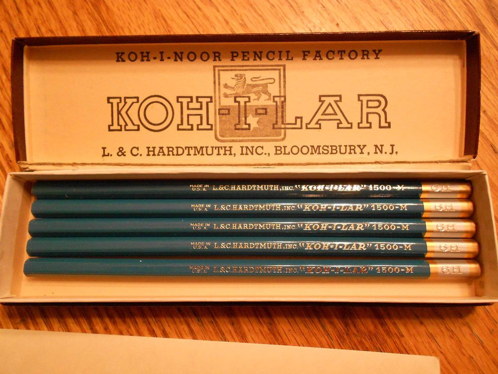 Vintage Box Of 5 Koh I Noor Lar Drafting Film Pencils Drawing