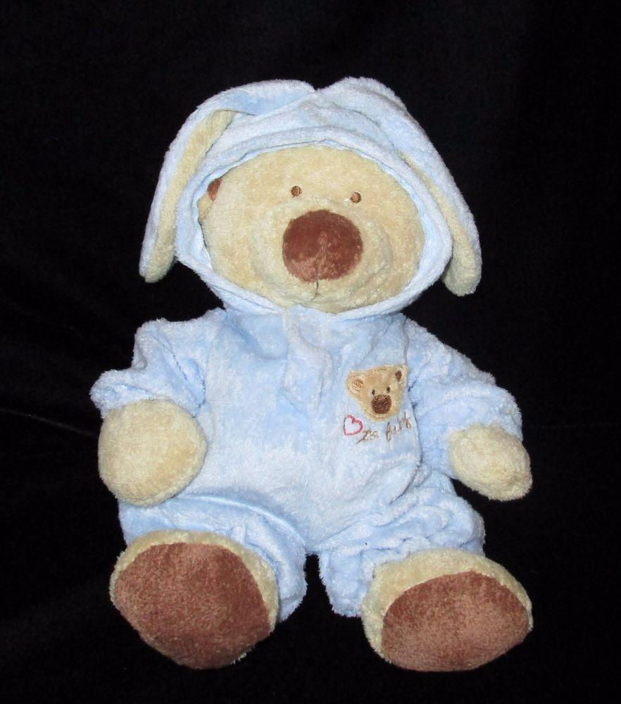 Ty Pluffies Blue Pj Bear Plush Removable Bunny Pajamas