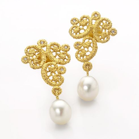 Brigitte Adolph - Gold Pearl Volute Earrings - ORRO Contemporary Jewellery Glasgow - www.orro.co.uk