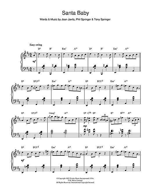 Santa Baby PIano Sheet Music Notes, Chords by Eartha Kitt ...