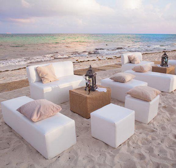 Wedding Cocktail Hour Beach Lounge Set Up Decor