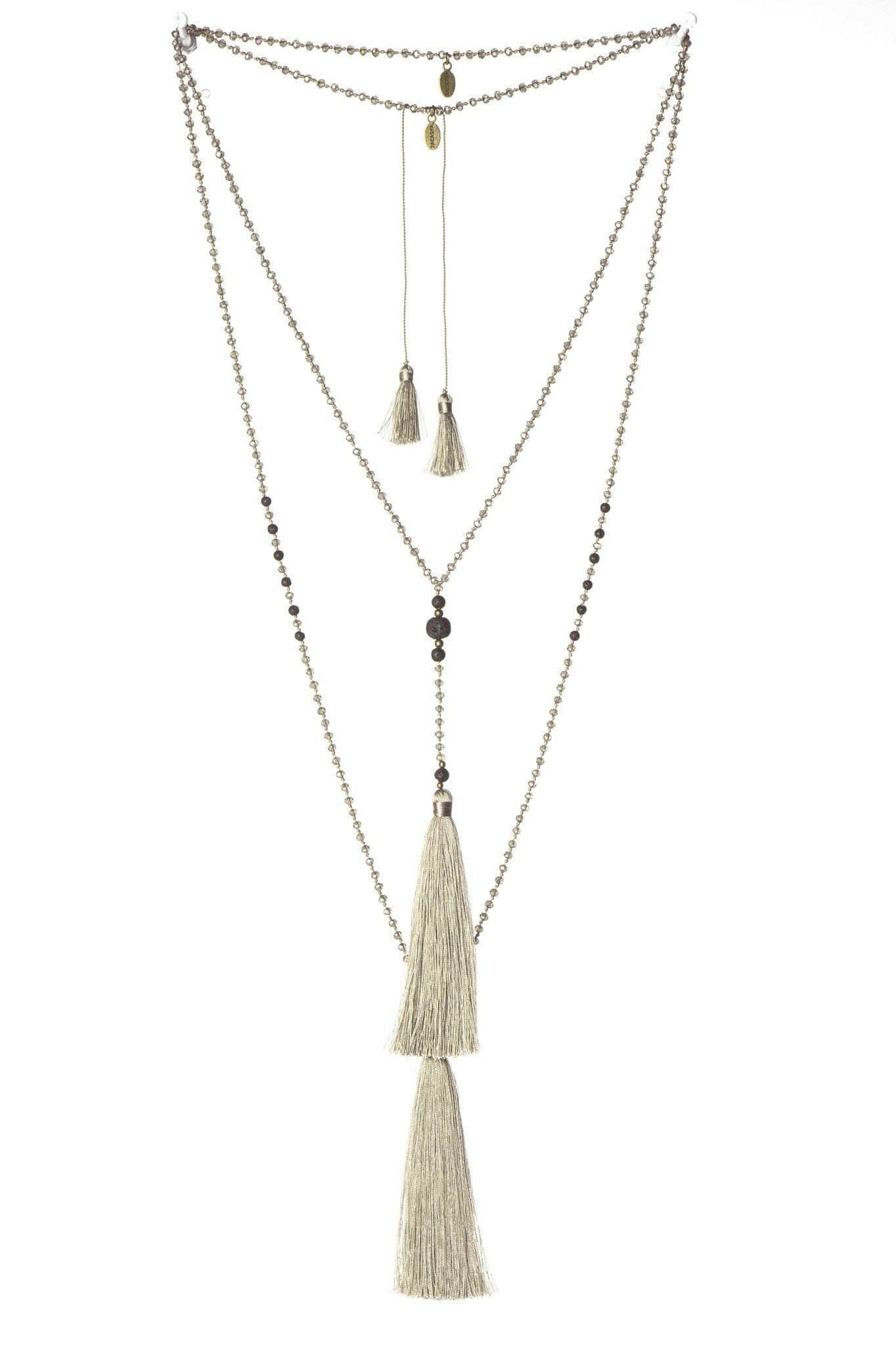 Taupe Rosario Set Of 2 Necklaces