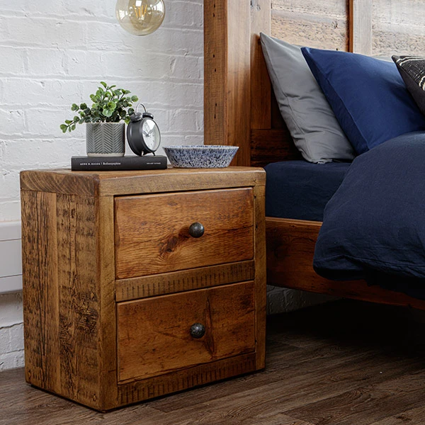 Beam Reclaimed Wood Bedside Table Double Drawer In 2020 Reclaimed Wood Bedside Reclaimed Wood Bedside Table Wood Bedside Table
