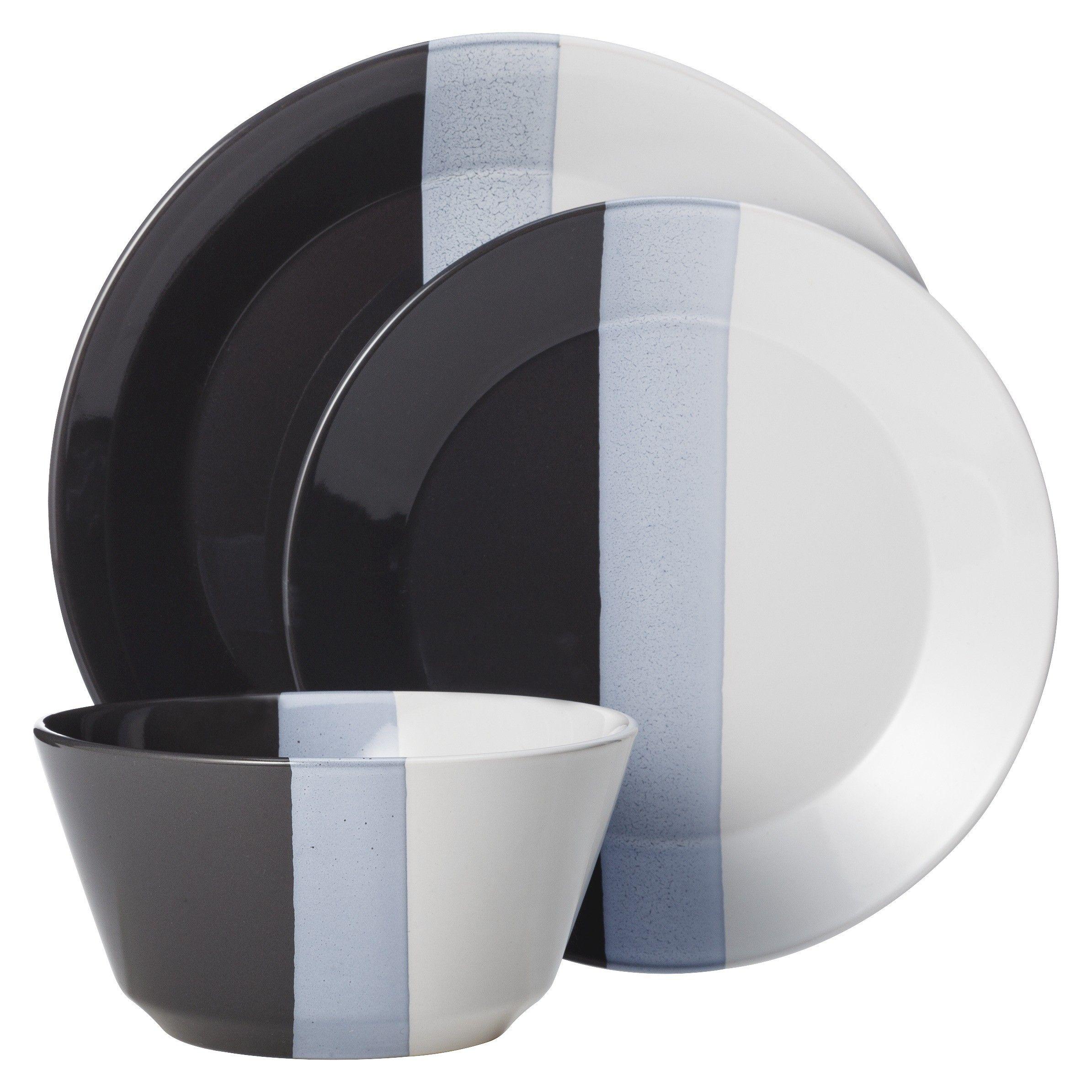Room Essentials Tri Band 12 Piece Dinnerware Set Target With