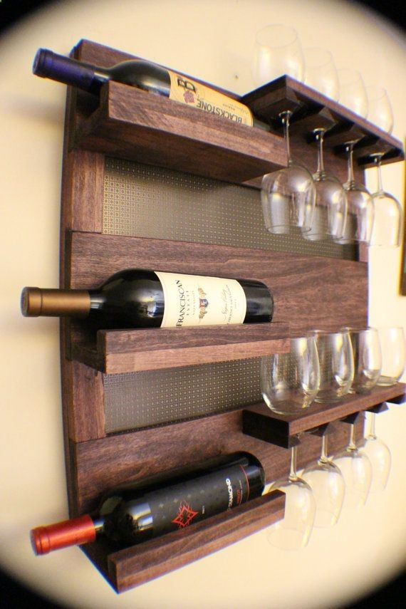 Stunning dark cherry stained wall mounted wine rack with shelves and decorative dark bronze metal mesh wine and liquor shelf and cabinet