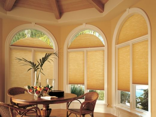 Photos of window treatments for round top windows for Round top windows
