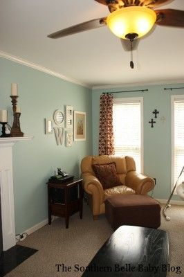 Spotted Valspar Paint In Gl Tile Ci184 A Fresh Minty Green Brightens Up This Living Room