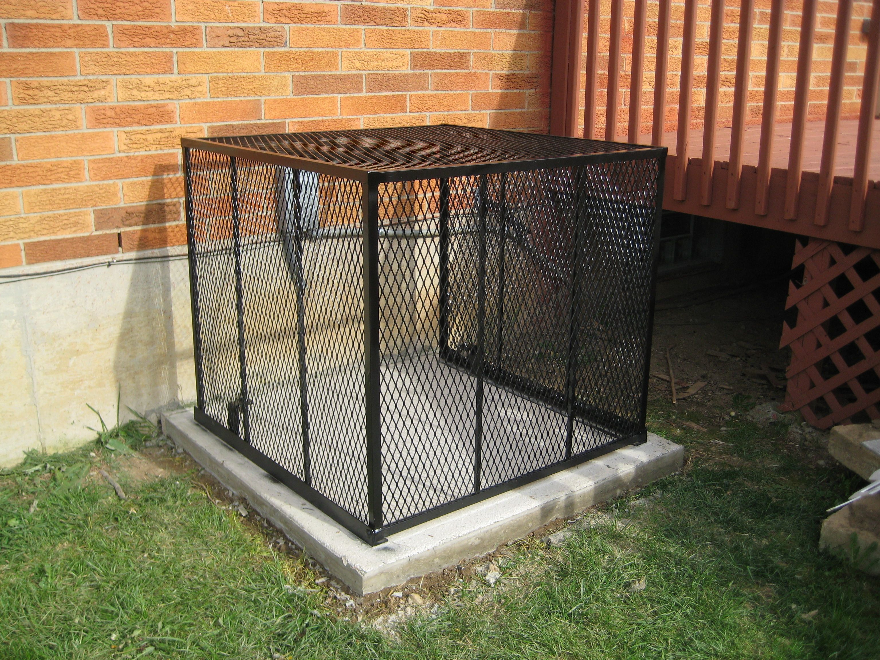 Ac Cage With A New Durable Cages Concrete Pad Concrete Pad Concrete Durable