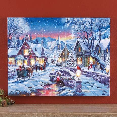 Led Lighted Fiber Optic Holiday Tinsel Town Canvas Wall Art Collections Etc In 2020 Canvas Wall Art Wall Art Art