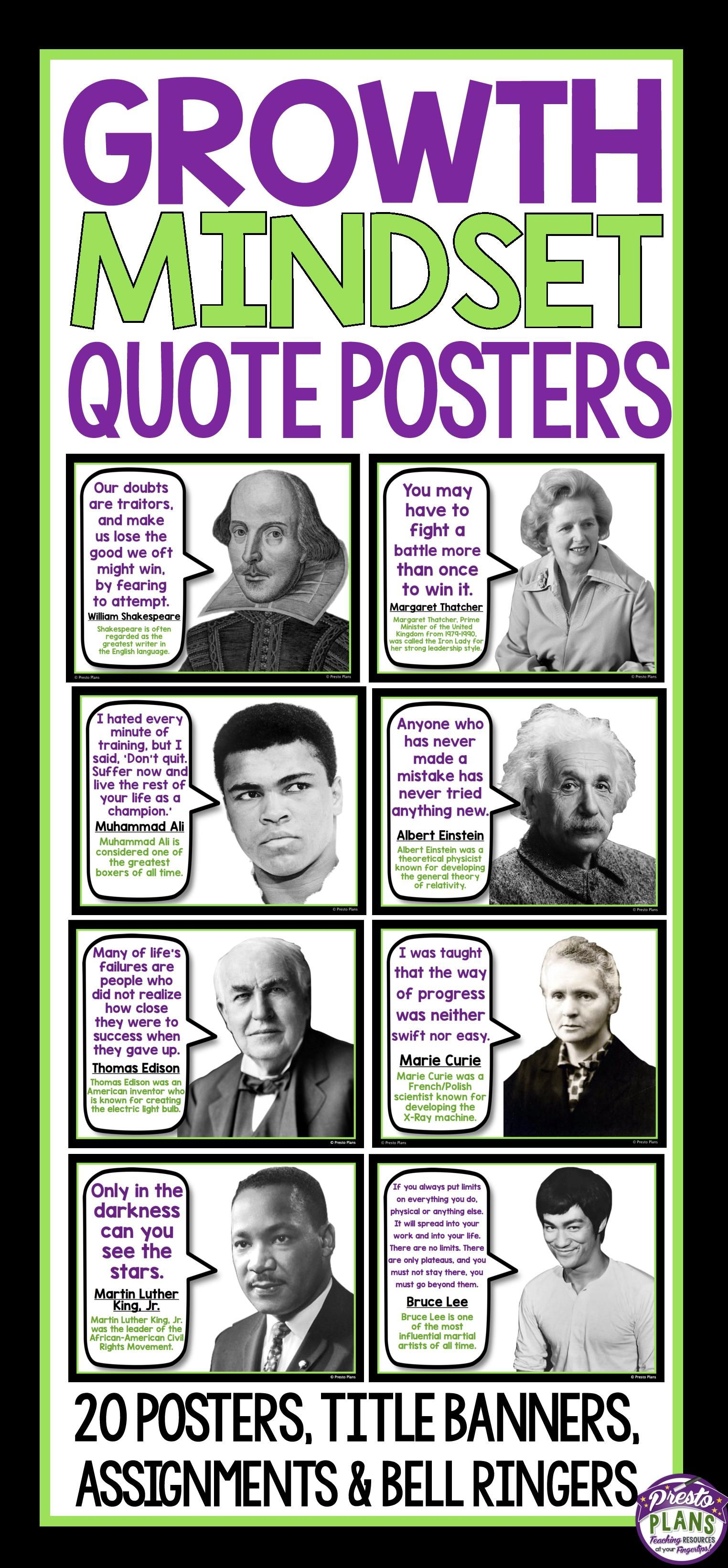 Growth Mindset Posters Amp Assignment Famous Quotes
