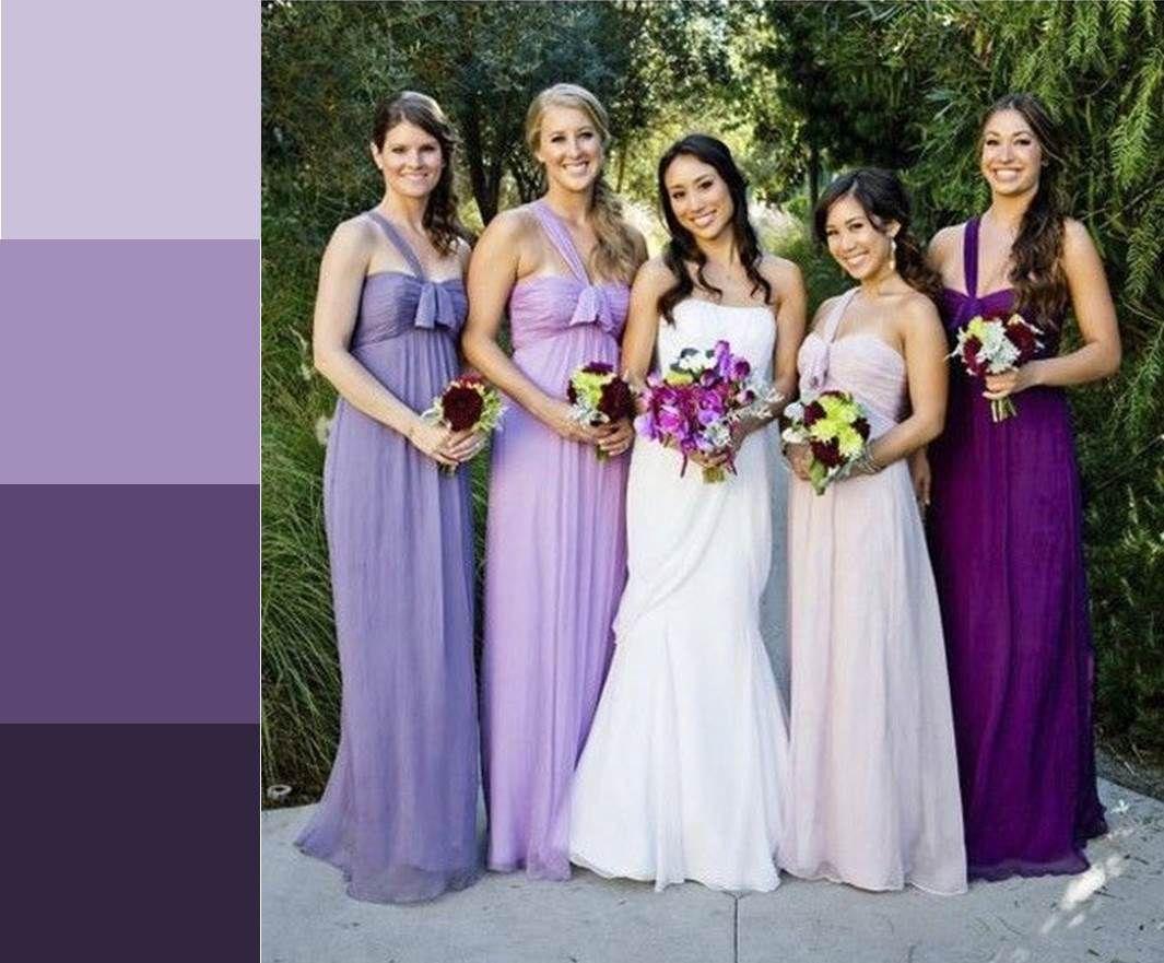 Mix matched ombre bridesmaids dresses | Bridesmaids | Pinterest