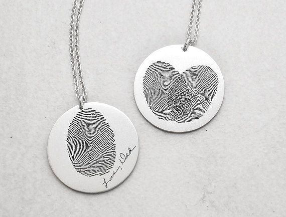 Actual Fingerprint Disc Necklace By Gracepersonalized On