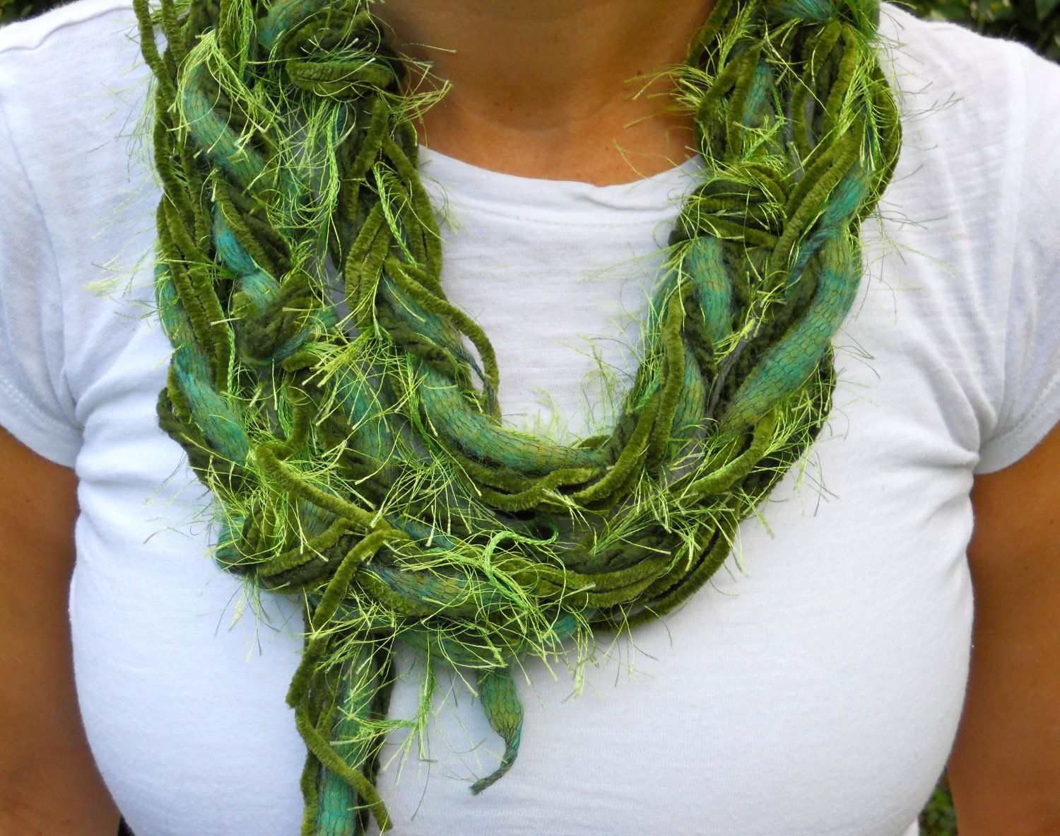 Lucky Green Braided Scarf Necklace St Patrick's by FritzieFroodles