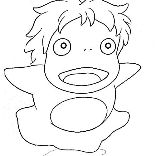 Ponyo coloring pages studio ghibli 39 s pinterest embroidery patterns and bullet - Coloriage ponyo ...