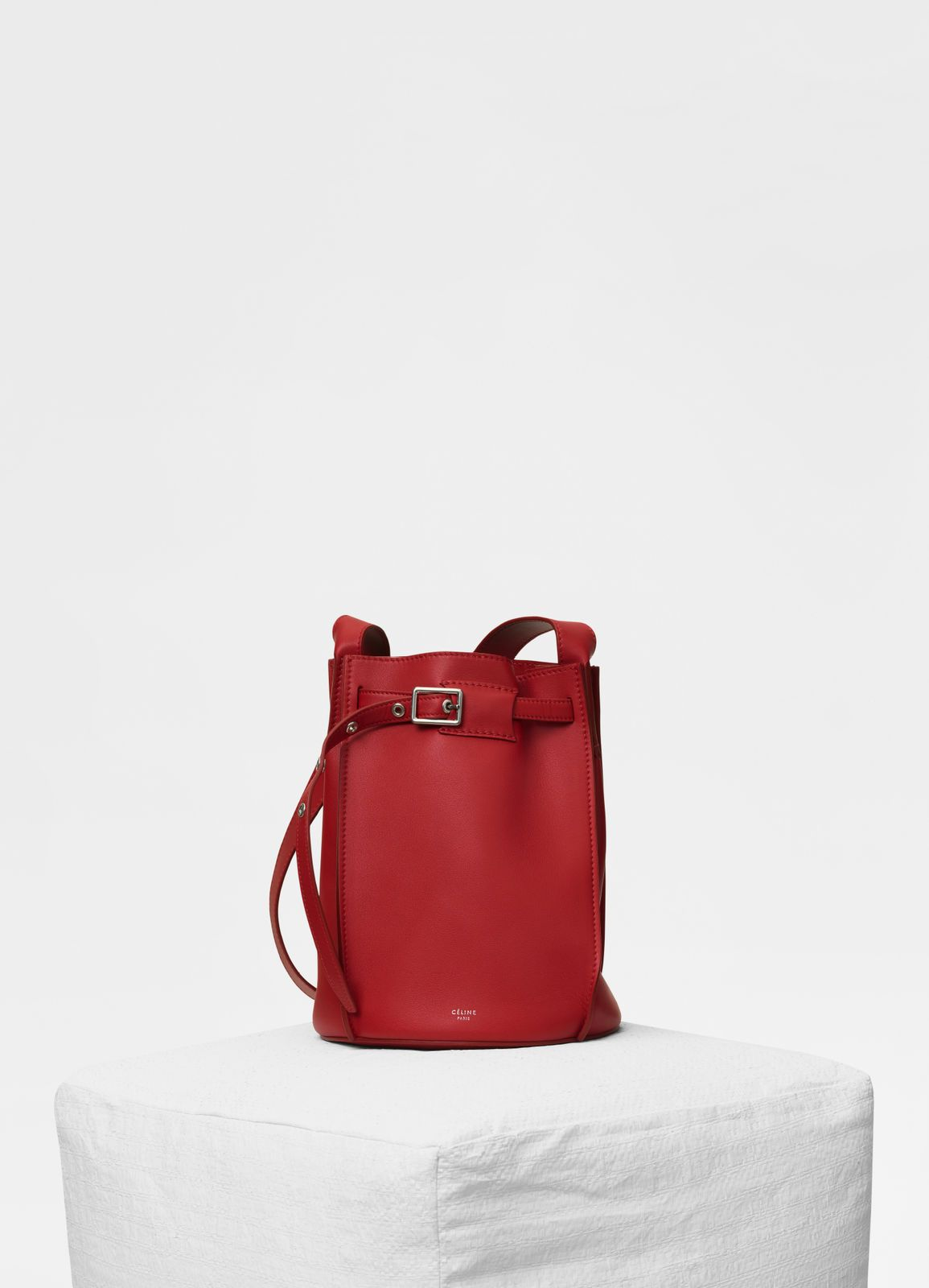 Céline Bag Bucket With Long Strap In Smooth Pop Red Calfskin