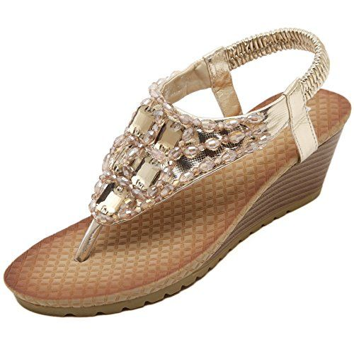 ee8849d61e441 Womens Wedge sandals Thong Platform Beaded Slingback Bohemia Summer Dress  Sandal Gold 7 US   Check