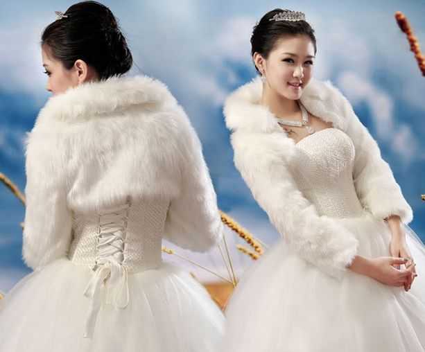 Long Sleeves Ivory Faux Fur Jacket Wrap Shrug Bolero Shawl Cape Bridal Wedding Handmade